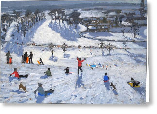 Snowfall Greeting Cards - Winter Fun Greeting Card by Andrew Macara