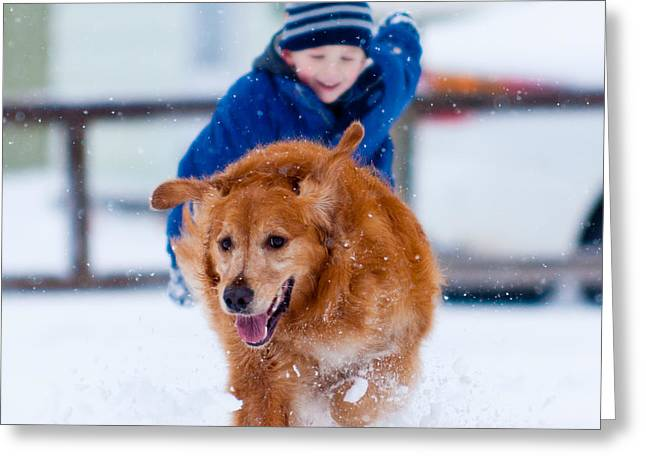 Winter Fun Greeting Card by Matt Dobson