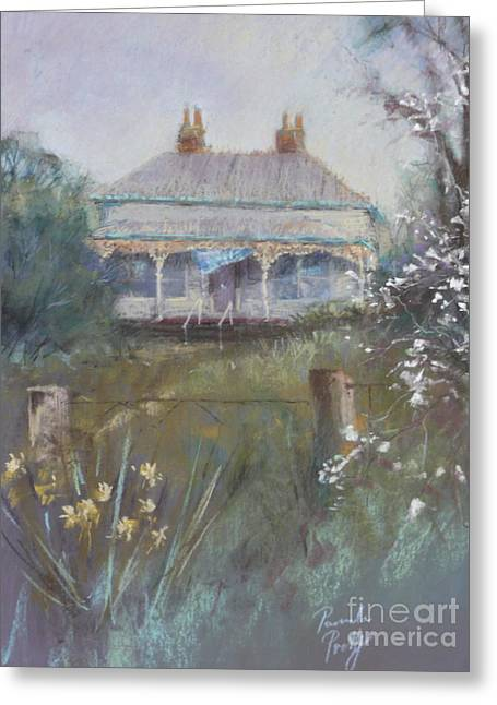 Historic Home Pastels Greeting Cards - Winter Garden Greeting Card by Pamela Pretty