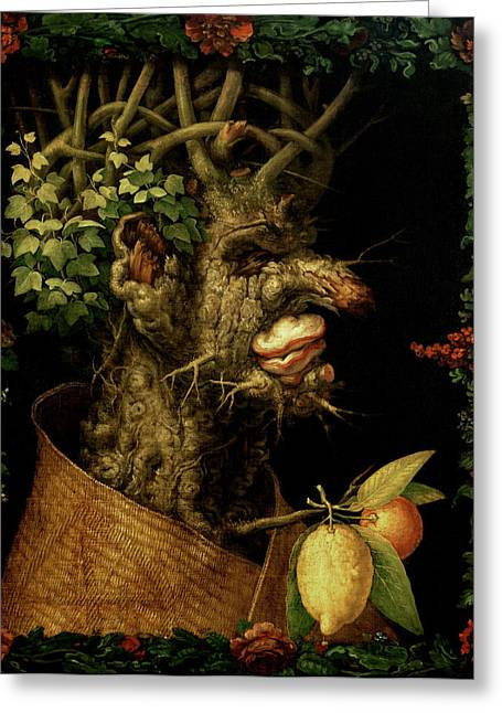 Winter Greeting Cards - Winter Greeting Card by Giuseppe Arcimboldo
