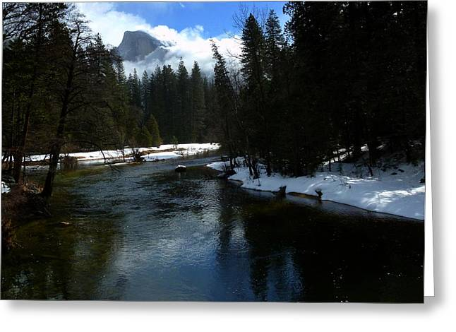 Best Sellers -  - Reflections Of Trees In River Greeting Cards - Winter Half Dome And The Merced River Greeting Card by Jeff Lowe