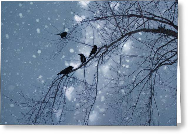 Fantasy Tree Art Greeting Cards - Winter Hearts Greeting Card by Gothicolors Donna Snyder