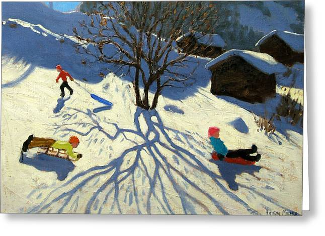 Toboggan Greeting Cards - Winter hillside Morzine France Greeting Card by Andrew Macara
