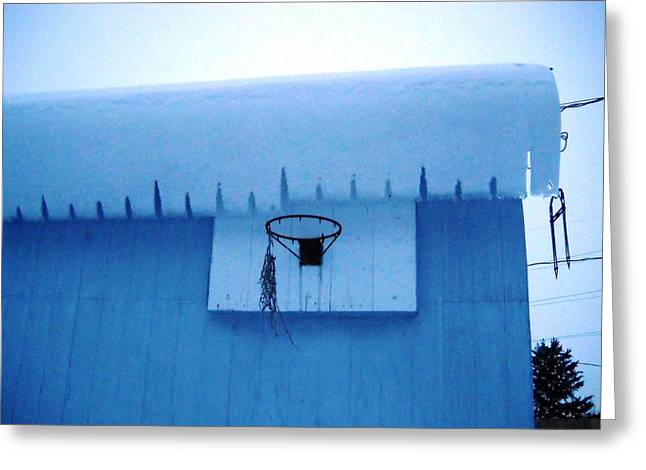 Overhanging Snow Greeting Cards - Winter Hoops Greeting Card by Diane Fay Lyon
