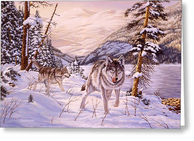 Winter Hunt Greeting Card by Richard De Wolfe