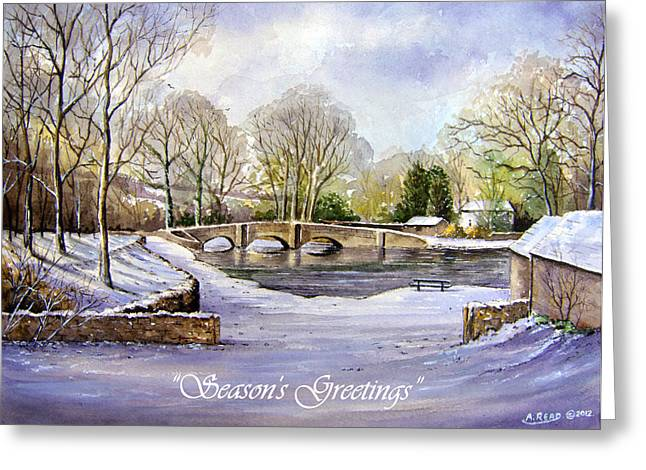 Snow Scene Mixed Media Greeting Cards - Winter in Ashford Xmas card Greeting Card by Andrew Read