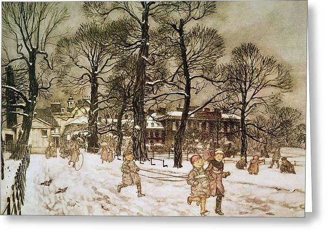 M J Greeting Cards - Winter in Kensington Gardens Greeting Card by Arthur Rackham