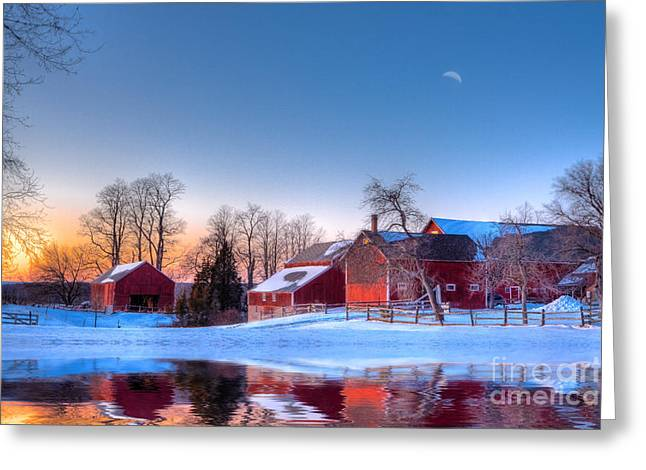 Barn Digital Art Greeting Cards - Winter In New England Greeting Card by Michael Petrizzo