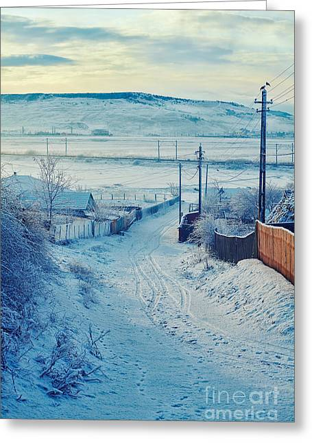Snowy Day Greeting Cards - Winter in Romanian countryside Greeting Card by Gabriela Insuratelu