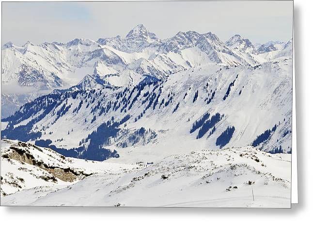 Snow-covered Landscape Greeting Cards - Winter in the alps - snow covered mountains Greeting Card by Matthias Hauser