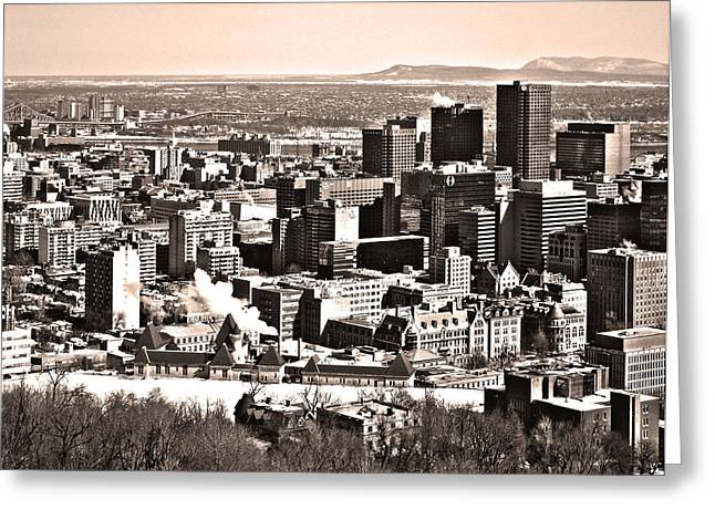 Montreal City Scapes Greeting Cards - Winter in the City ... Greeting Card by Juergen Weiss