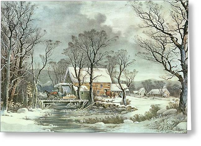 Snowfall Greeting Cards - Winter in the Country - the Old Grist Mill Greeting Card by Currier and Ives