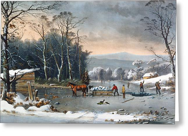 Snowfall Greeting Cards - Winter in the Country Greeting Card by Currier and Ives