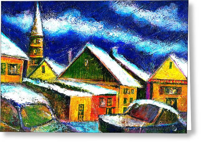 Ion Vincent Danu Greeting Cards - Winter in the Old City Greeting Card by Ion vincent DAnu