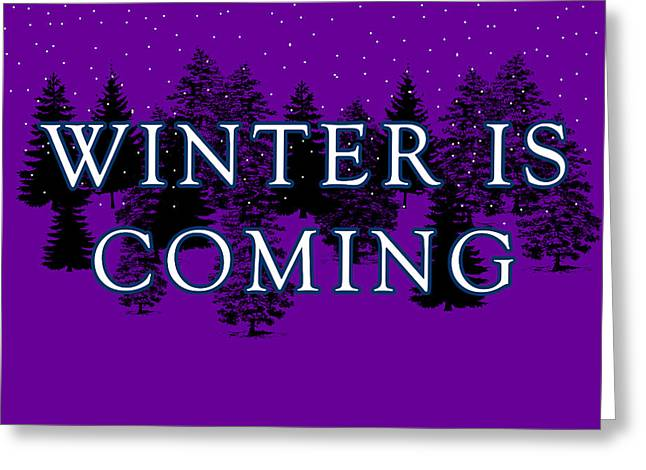 Snow And Night Sky Greeting Cards - Winter is Coming Greeting Card by Jera Sky