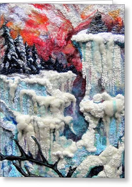 Light Blue Tapestries - Textiles Greeting Cards - Winter Greeting Card by Kimberly Simon