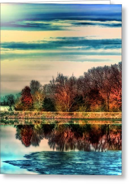 Tree Lines Greeting Cards - Winter Lake Fantasm Greeting Card by Bill Tiepelman