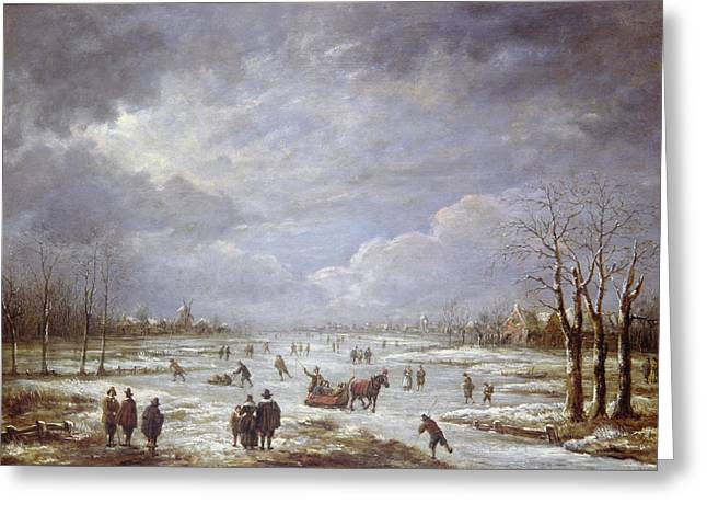 Wintry Landscape Greeting Cards - Winter Landscape Greeting Card by Aert van der Neer