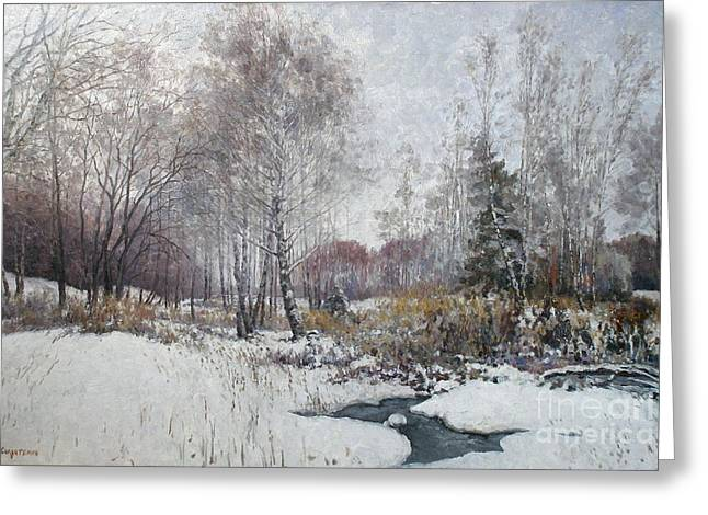 Russian Greeting Cards - Winter landscape Greeting Card by Andrey Soldatenko