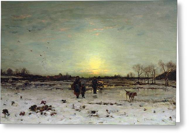 White Snow On Trees Greeting Cards - Winter Landscape at Sunset Greeting Card by Ludwig Munthe