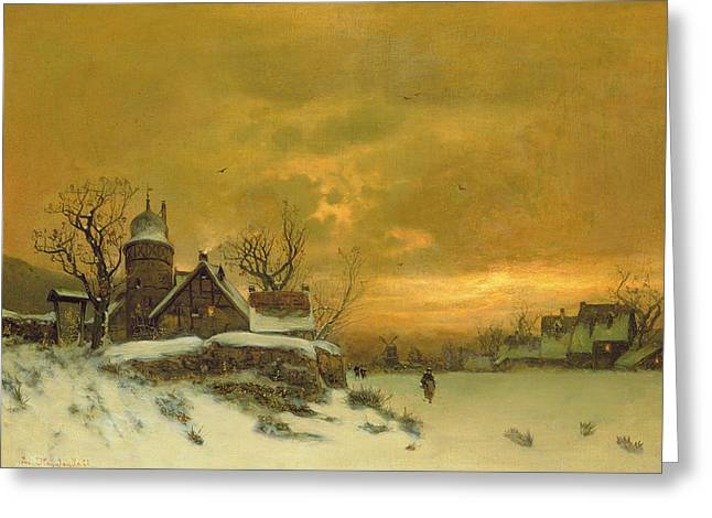 Of Buildings Greeting Cards - Winter Landscape Greeting Card by Friedrich Nicolai Joseph Heydendahl