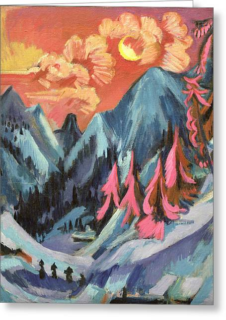 Fir Trees Greeting Cards - Winter Landscape in Moonlight Greeting Card by Ernst Ludwig Kirchner