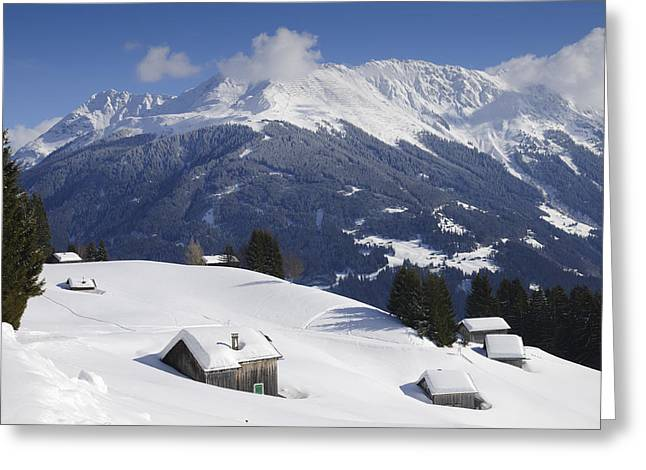 Snow Capped Greeting Cards - Winter landscape in the mountains Greeting Card by Matthias Hauser