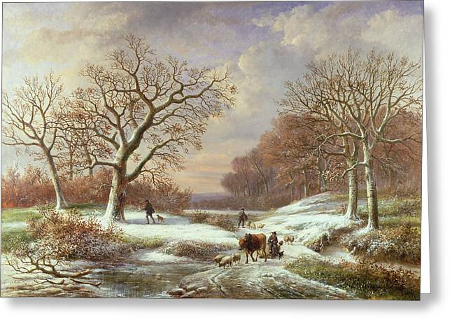 Winter Greeting Cards - Winter Landscape Greeting Card by Louis Verboeckhoven