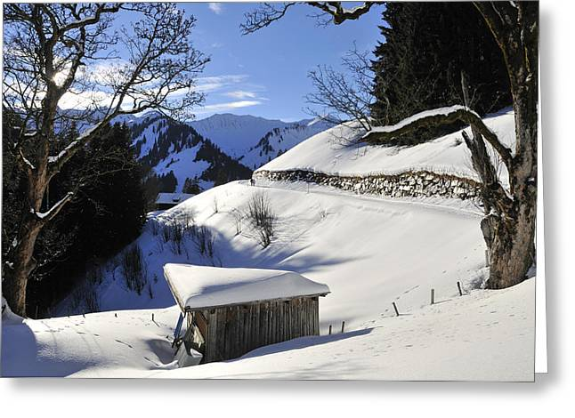 Snow-covered Landscape Greeting Cards - Winter landscape Greeting Card by Matthias Hauser