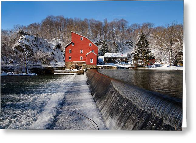 Snow-covered Landscape Photographs Greeting Cards - Winter Landscape with a Red Mill Clinton New Jersey Greeting Card by George Oze