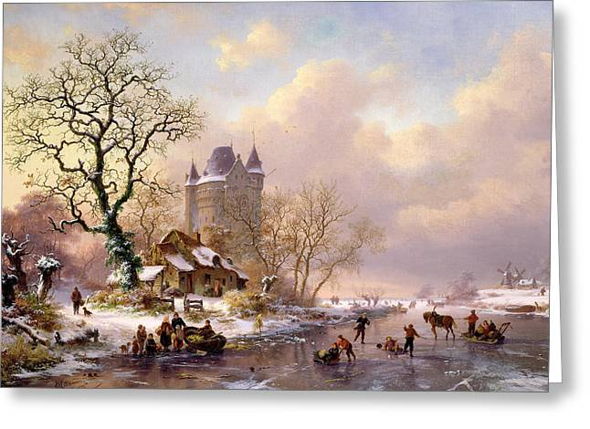 Frederick Greeting Cards - Winter Landscape with Castle Greeting Card by Frederick Marianus Kruseman