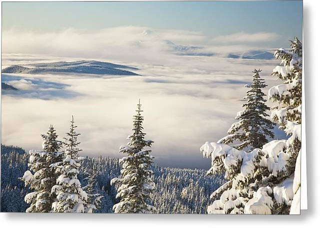 Winter Landscape With Clouds And Greeting Card by Craig Tuttle