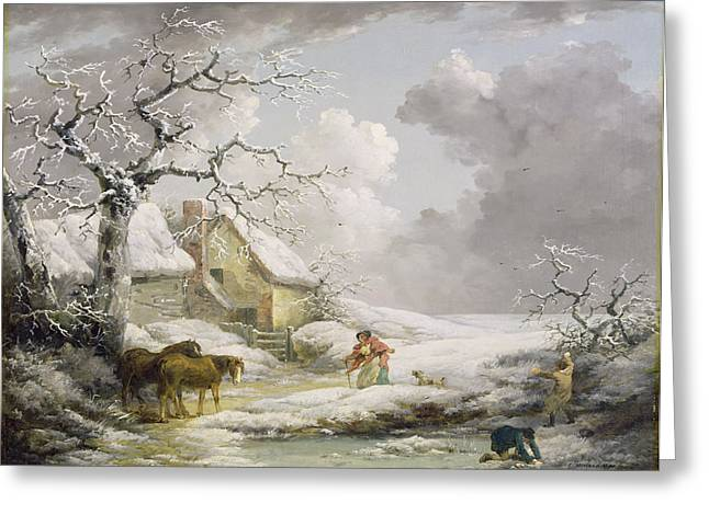 1804 Greeting Cards - Winter Landscape with Men Snowballing an Old Woman Greeting Card by George Morland