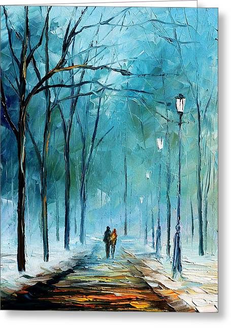 Winter Park Greeting Cards - Winter Greeting Card by Leonid Afremov