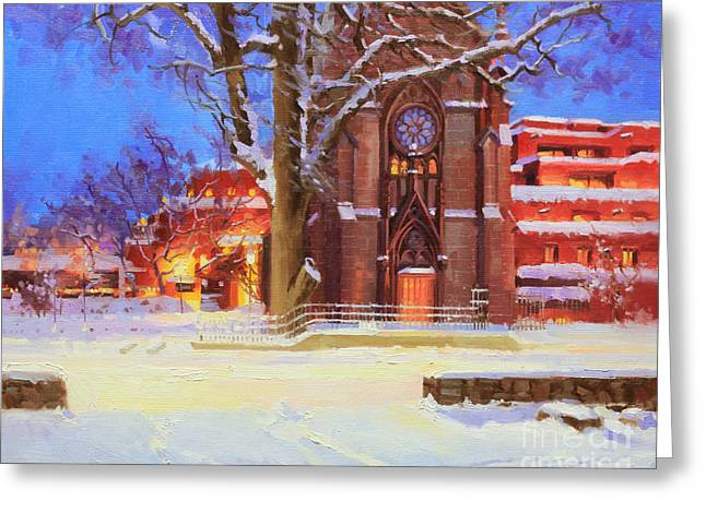 Entry Greeting Cards - Winter Lorreto chapel Greeting Card by Gary Kim