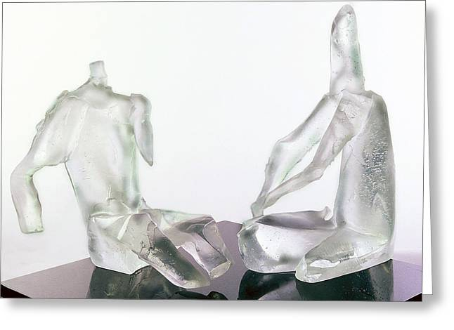 Glass Sculpture Glass Art Greeting Cards - Winter Lovers 2005 Greeting Card by Zoja Trofimiuk
