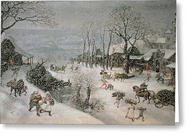 Carriage Greeting Cards - Winter Greeting Card by Lucas van Valckenborch