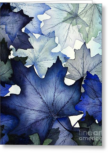 Winter Greeting Cards - Winter Maple Leaves Greeting Card by Christina Meeusen