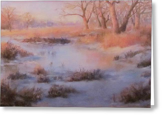 Snowy Stream Pastels Greeting Cards - Winter Marsh Series- Fire and Ice Greeting Card by Bill Puglisi