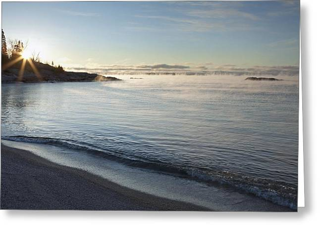Winter Mist On Lake Superior At Sunrise Greeting Card by Susan Dykstra