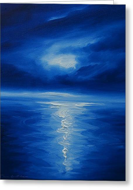 Colbalt Blue Greeting Cards - Winter Moon VI Greeting Card by James Christopher Hill