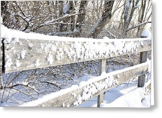 Board Fence Greeting Cards - Winter Morning Greeting Card by Thomas R Fletcher