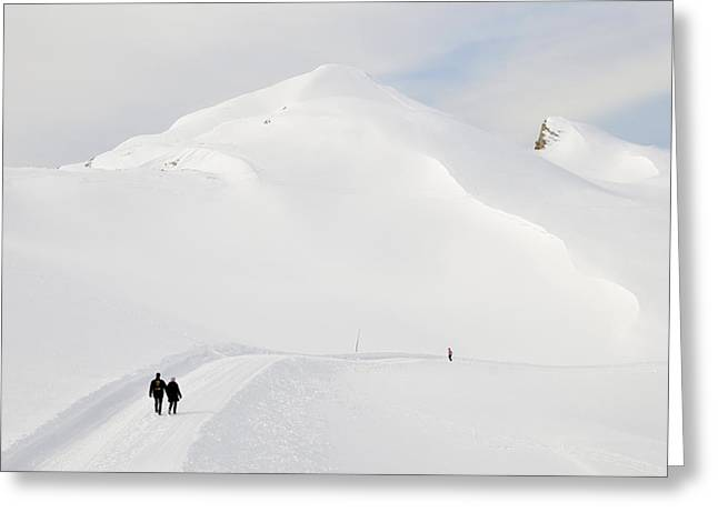 Snow-covered Landscape Greeting Cards - Winter mountain landscape with lots of snow Greeting Card by Matthias Hauser