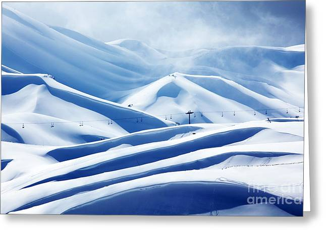 Winter Mountain Ski Resort Greeting Card by Anna Omelchenko