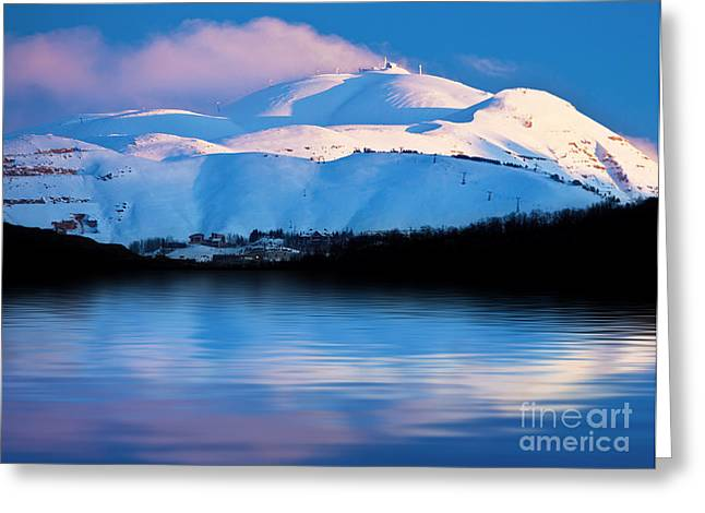 Winter Mountains And Lake Snowy Landscape Greeting Card by Anna Omelchenko