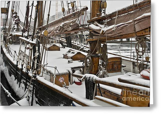 Ships Detail Greeting Cards - Winter on Deck Greeting Card by Heiko Koehrer-Wagner