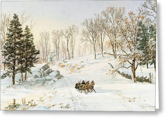 Winter Fun Paintings Greeting Cards - Winter on Ravensdale Road Greeting Card by Jasper Francis Cropsey