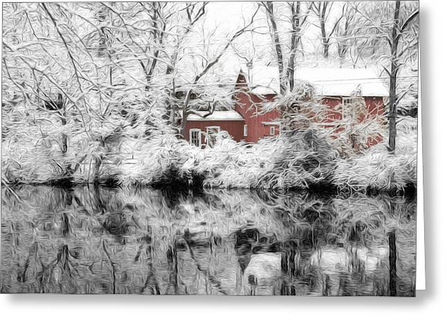 Winter Road Scenes Digital Greeting Cards - Winter on the D and R Canal NJ Greeting Card by Matthew Shalvatis