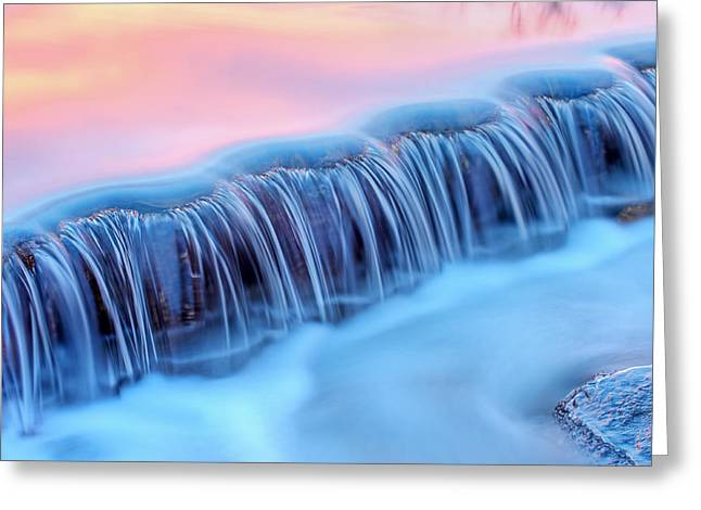 Beautiful Creek Greeting Cards - Winter Orangeville Creek Cascade Greeting Card by Dean Pennala
