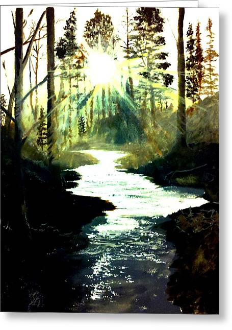 Wood. Commissions Greeting Cards - Winter Over Almond Creek Greeting Card by Travis  Ragan